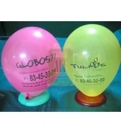 3020 - GLOBO LATEX 9 PULGADAS COLORES ESTANDAR, IMPRESO A LA ORDEN 2 CARAS 1 TINTA