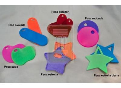 5023 - PESA PLASTICO REDONDA CON OREJA, 6 GRAMOS 6 CMS.