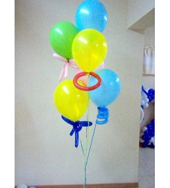 "6225 - RAMILLETE 10 GLOBOS DE LATEX 12"" C/HELIO"